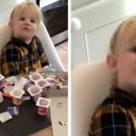 Pai deixou filha de 3 anos sozinha na cozinha e, para surpresa dele, ela comeu 18 potinhos de iogurte.