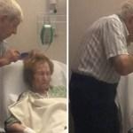 Homem idoso penteia carinhosamente o cabelo de esposa doente
