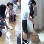 Os alunos japoneses limpam as salas de aula e os banheiros do colégio: ensinam as crianças a serem responsáveis