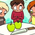 Consegue resolver este quebra-cabeças? Dividir duas maçãs entre três pessoas, usando a faca apenas uma vez?