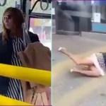Mulher sem máscara cospe em passageiro e é arremessada para fora do ônibus