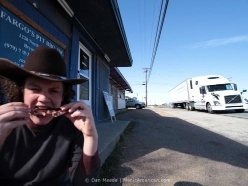 RB eating a rib outside Fargo's.