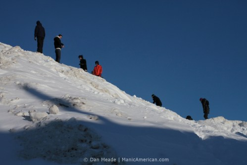 People climbing the MIT Alps.