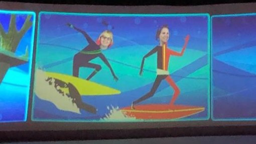 Aeris and Anika animated to appear to be surfing