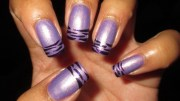 purple striped french tip