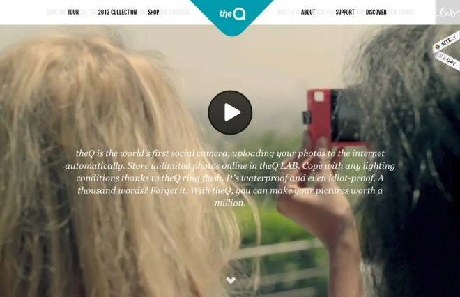 海外の防水トイデジカメ『theQ camera』のサイトデザインがおもしろい!   イケてるサイト