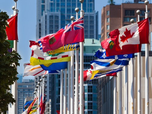 Flags of Canadian Provinces in Nathan Square, Toronto