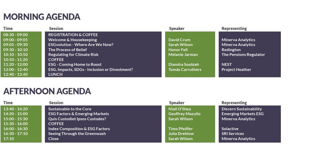 Minerva ESG Event Agenda