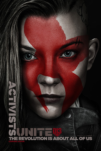 Activists Unite. The Revolution is about all of us. Karakterplakat fra den nye Hunger Games-filmen. Foto: Filmweb