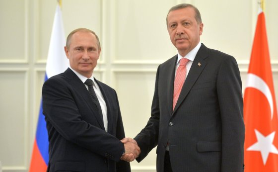 Russlands president Vladimir Putin og Tyrkias president Recep Tayyip Erdogan. Foto: Wikipedia