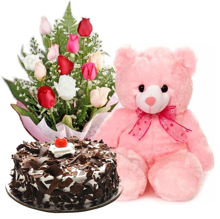 12 Mixed RosesPink Bear With Black Forest Cake Send To