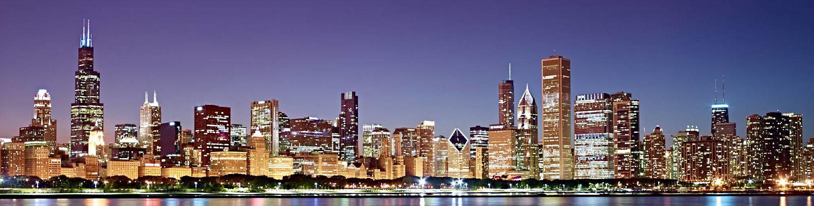 chicago skyline sunset night