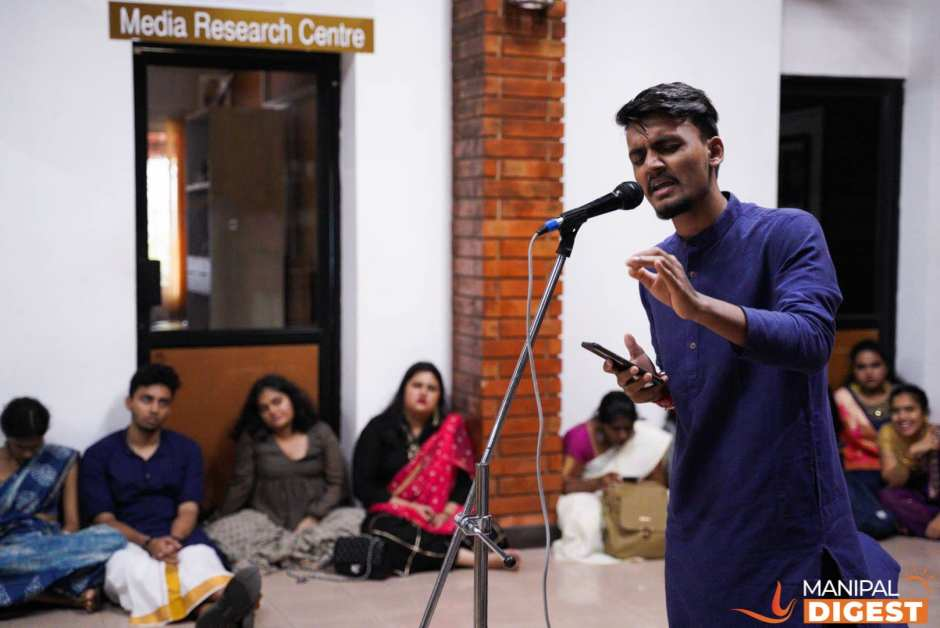 Student singing ghazals at MIC, Manipal