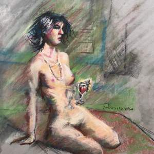 Seated Nude with Wine