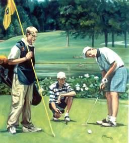 family golfing portrait