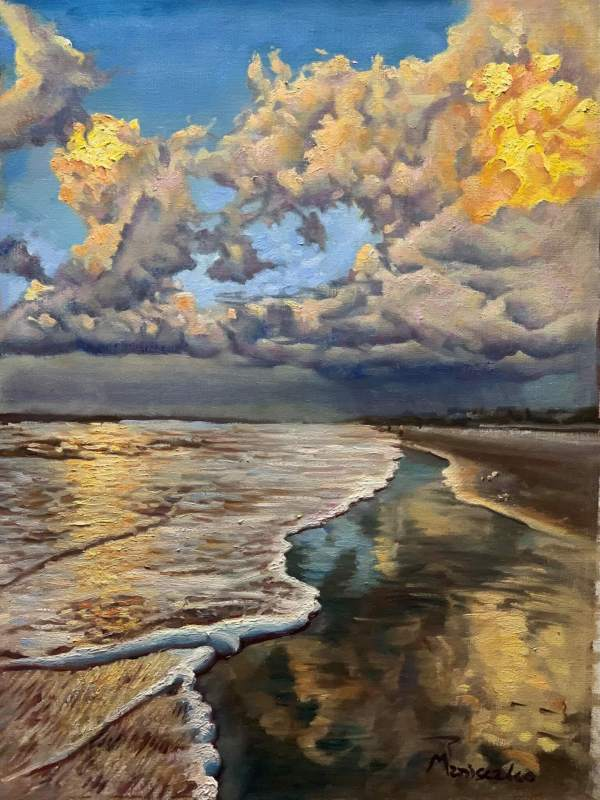 Beach Reflections Distant Storm