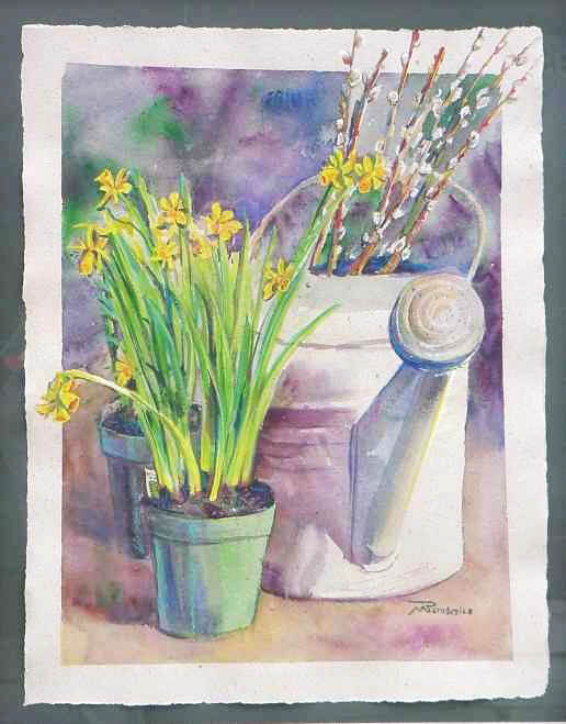 Cattails Daffodils Watering Can