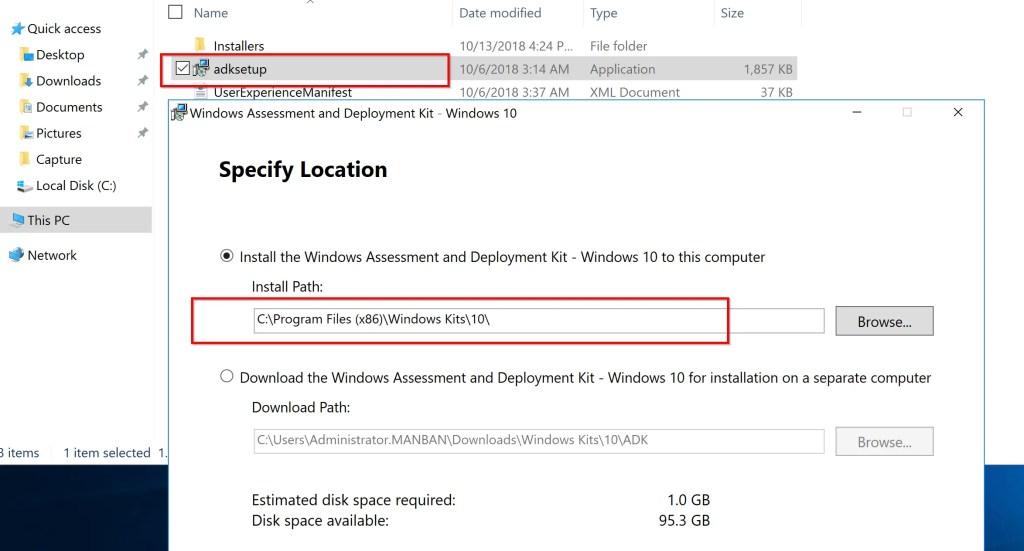Installation of ADK for Windows 10 (version 1809) 2