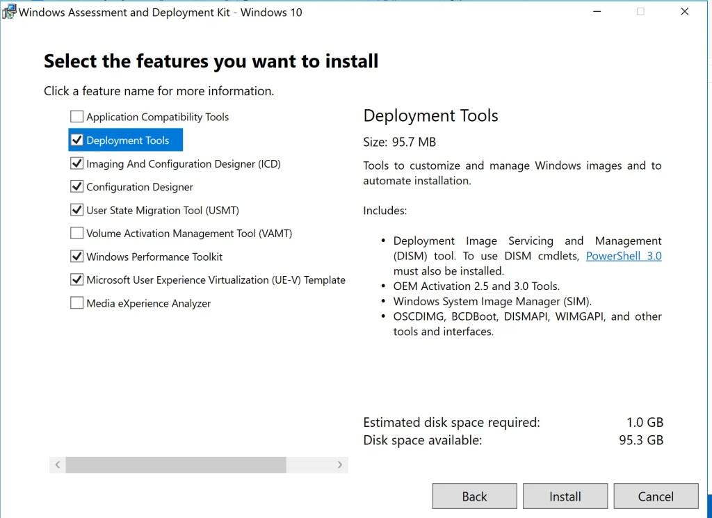 Installation of ADK for Windows 10 (version 1809) 3