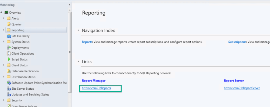Reporting Services Point Role Installation – SCCM