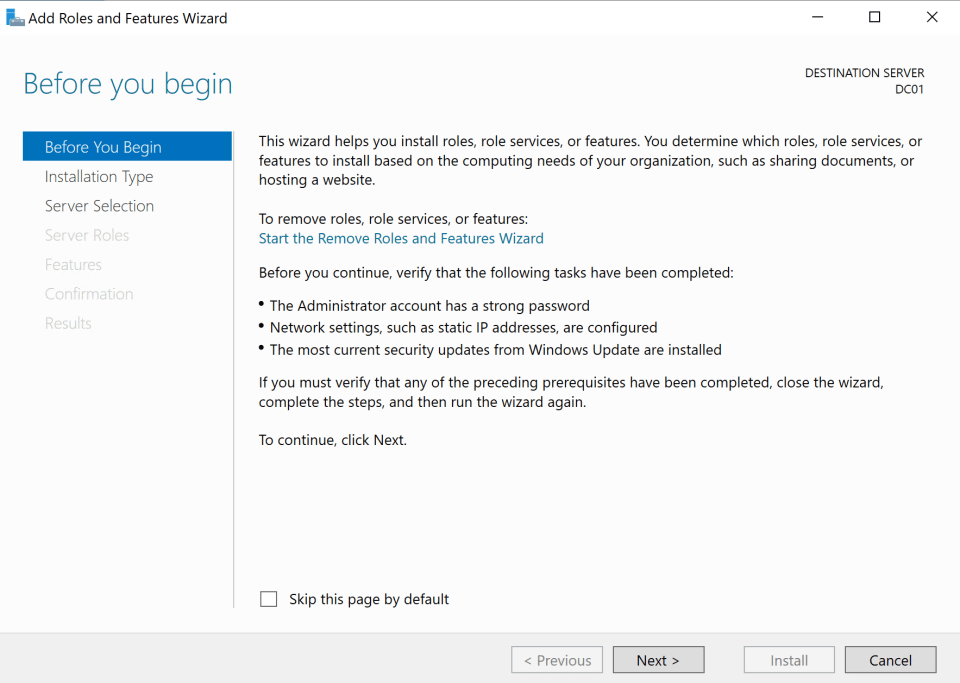 Install Active Directory Server 3
