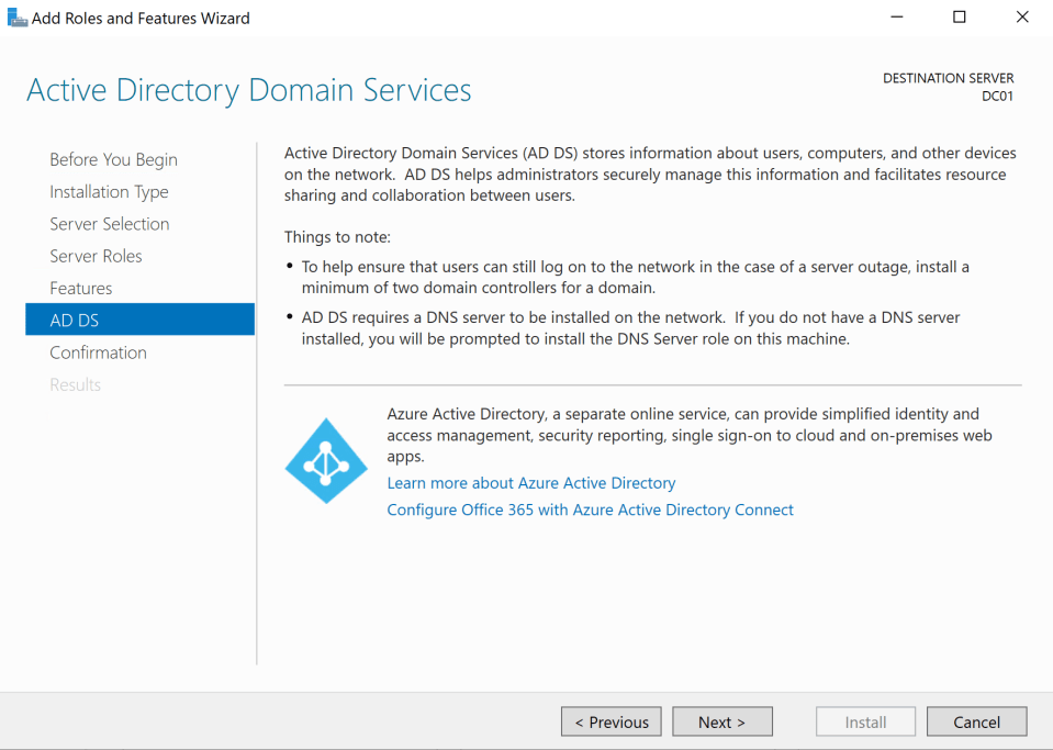 Install Active Directory Server 9
