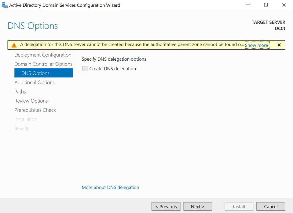 Install Active Directory Server 16