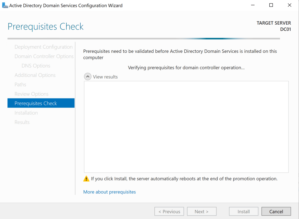 Install Active Directory Server 20