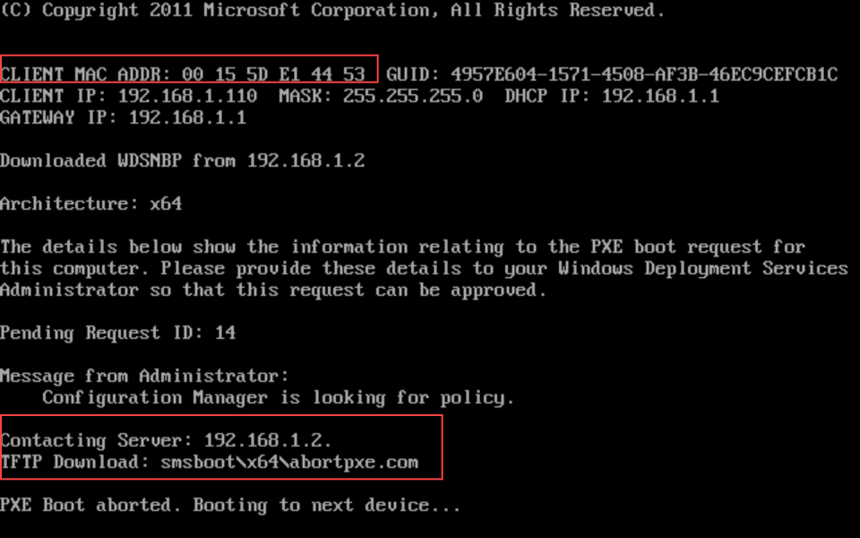 Troubleshoot PXE Boot issues 5