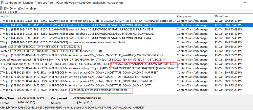 Track SCCM package deployment through client log flow 3