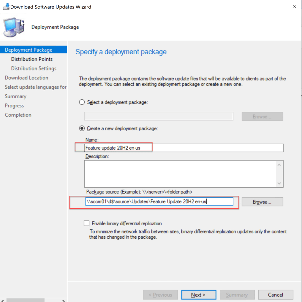 Update Windows 10 from 1909 to 20H2 using SCCM Feature Update 7