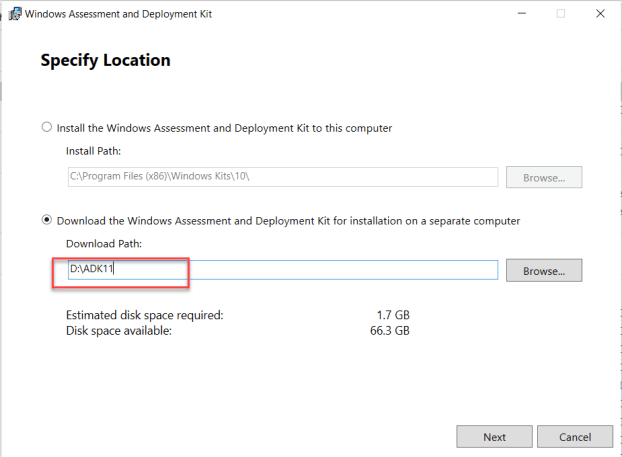 Download and install the Windows ADK 11 on SCCM Server 1