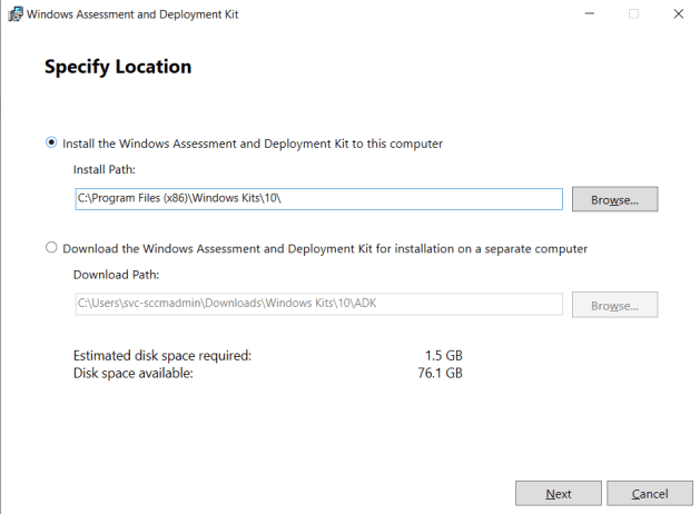Download and install the Windows ADK 11 on SCCM Server 7