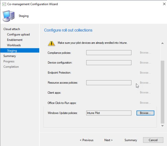 Configure roll out collections