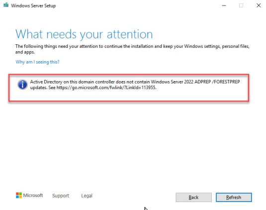 Domain controller does not contain Windows Server 2022 ADPREP /FORESTPREP