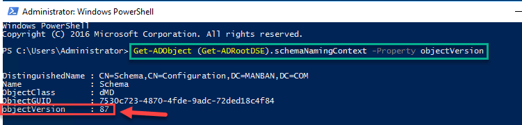 Get-ADRootDSE objectionversion