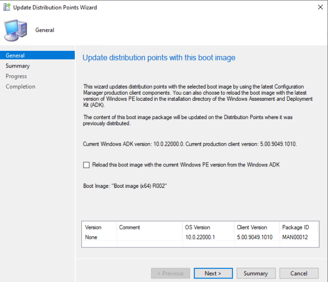 Reload this boot image with the current Windows PE version
