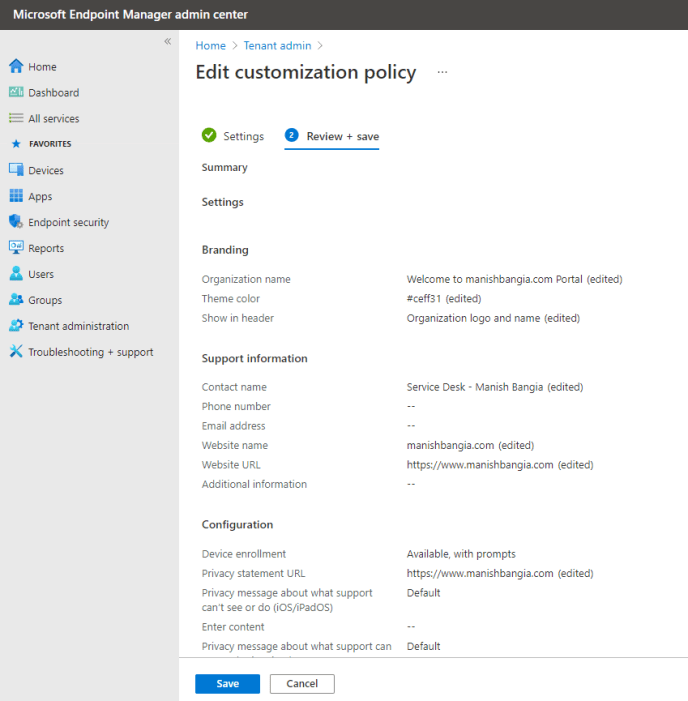 Edit customization policy Review + Save
