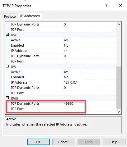TCP/IP Properties TCP Port