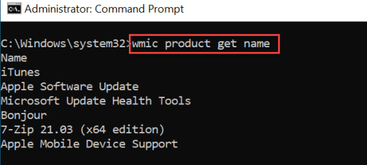 wmic product get name
