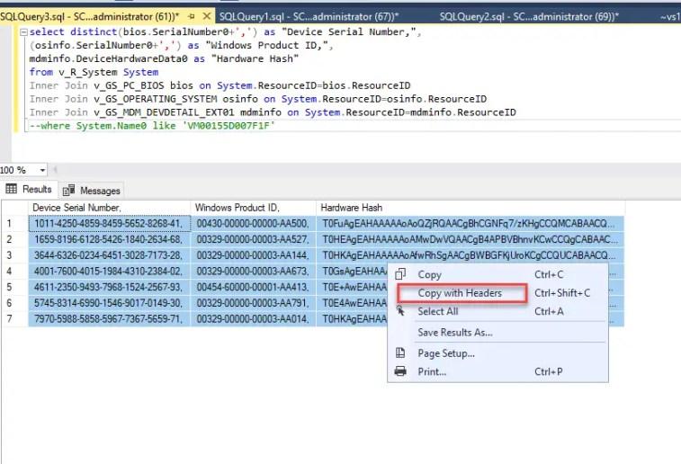 SQL Query Windows AutoPilot