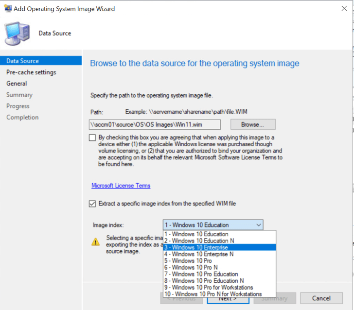 Specify the path to the operating system image file