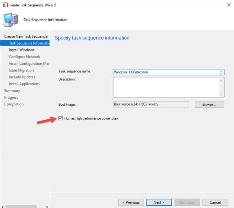Specify task sequence information