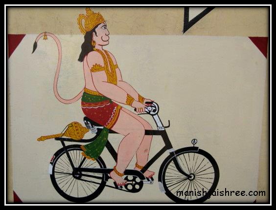 Hanumanji on bicycle