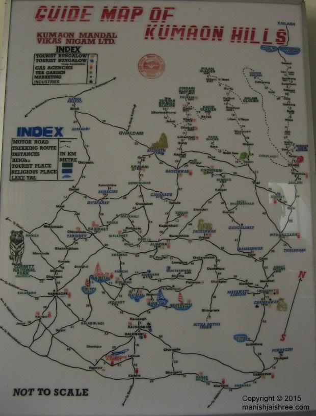 A detailed route map of Kumaon, KMVN Deenapani