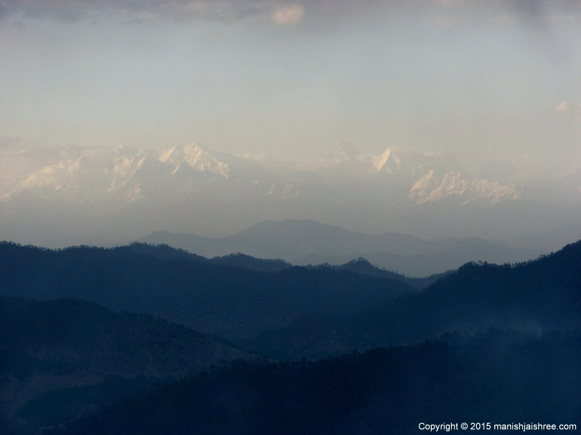 View of Majestic Himalayas from the terrace of our cottage at KMVN, Deenapani