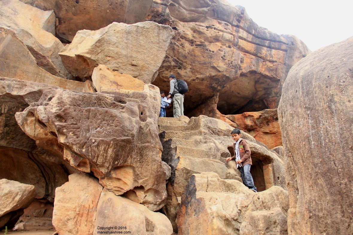Manish with Tanmay and Rachit, Udayagiri Cave Complex, Odisha