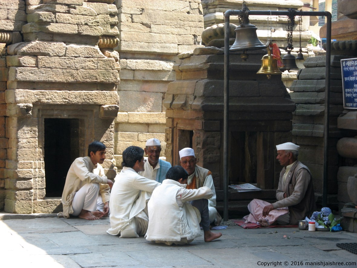 Brahmins at Jageshwar Temple Complex busy in disussion