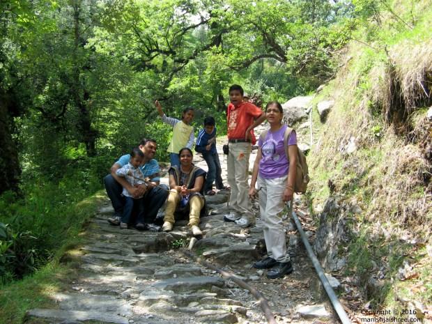 The Gang while trekking up from behind the Zara-Resort, Munsiyari