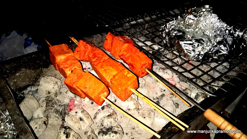 Al Mamzar Park in Dubai- Marinated Paneer on the BBQ